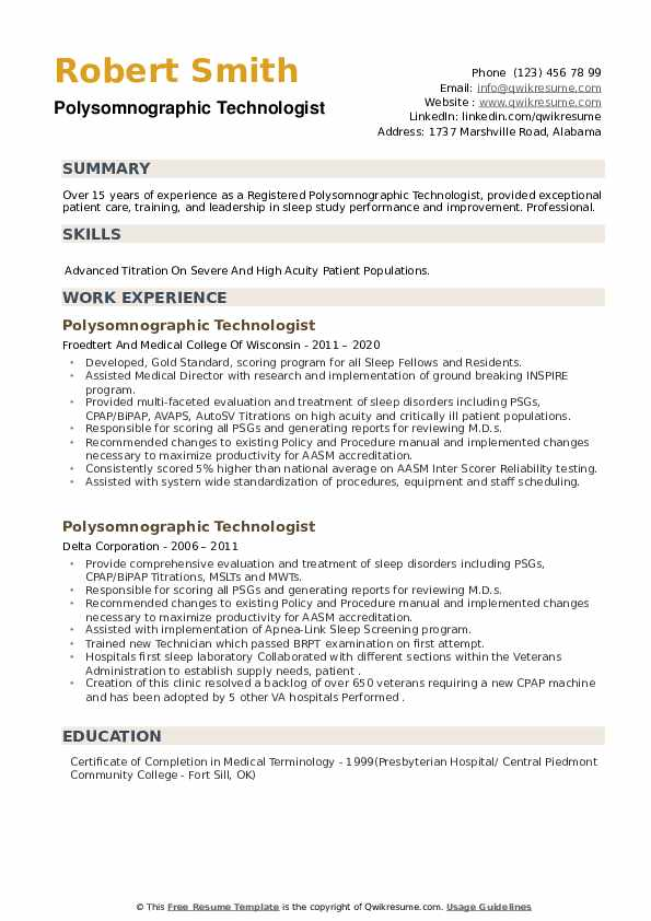 Polysomnographic Technologist Resume example