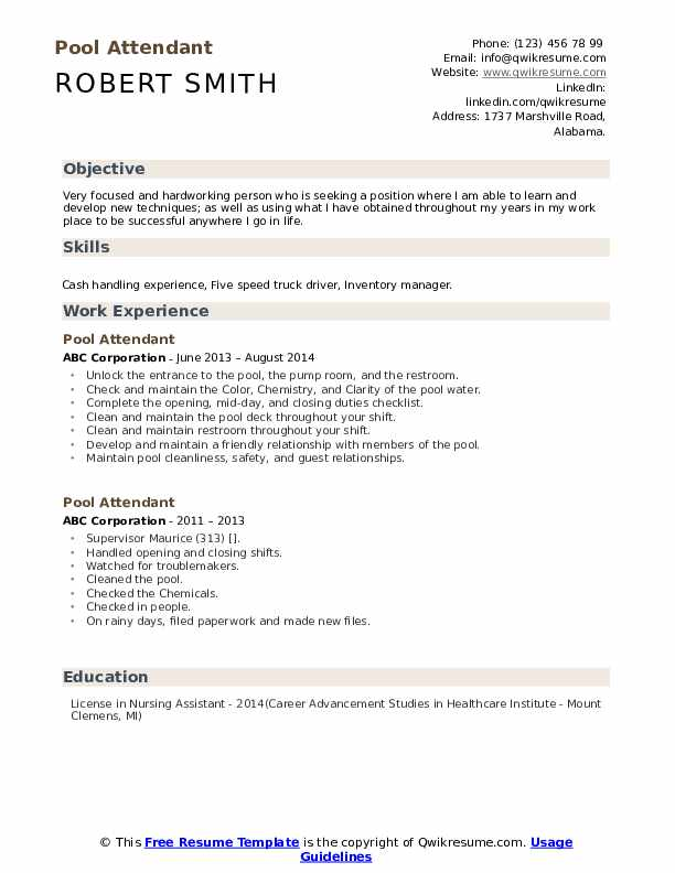 Pool Attendant Resume Example