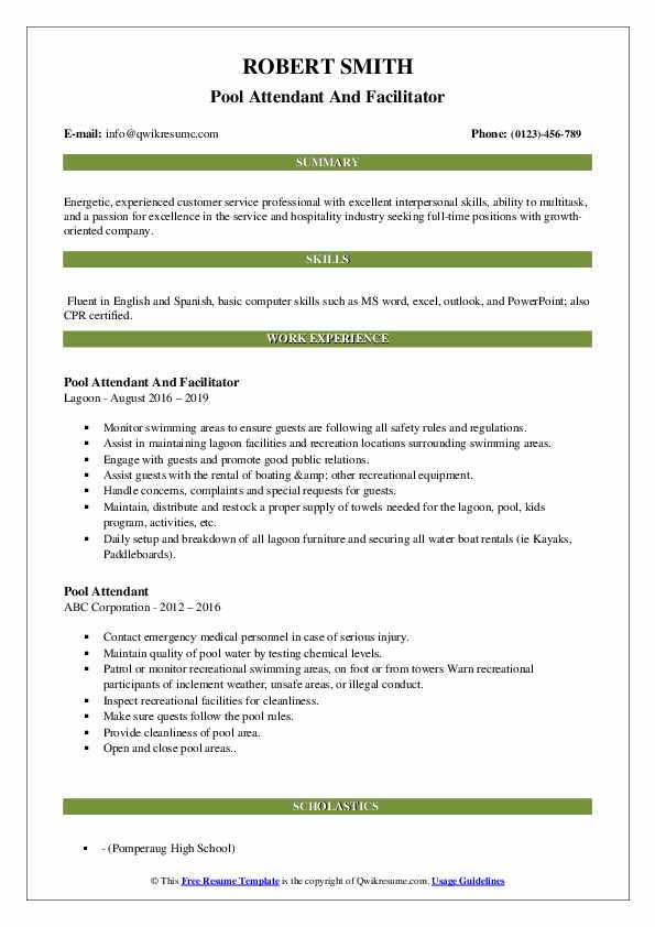 Pool Attendant And Facilitator Resume Format