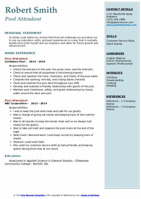 Pool Attendant Resume Sample