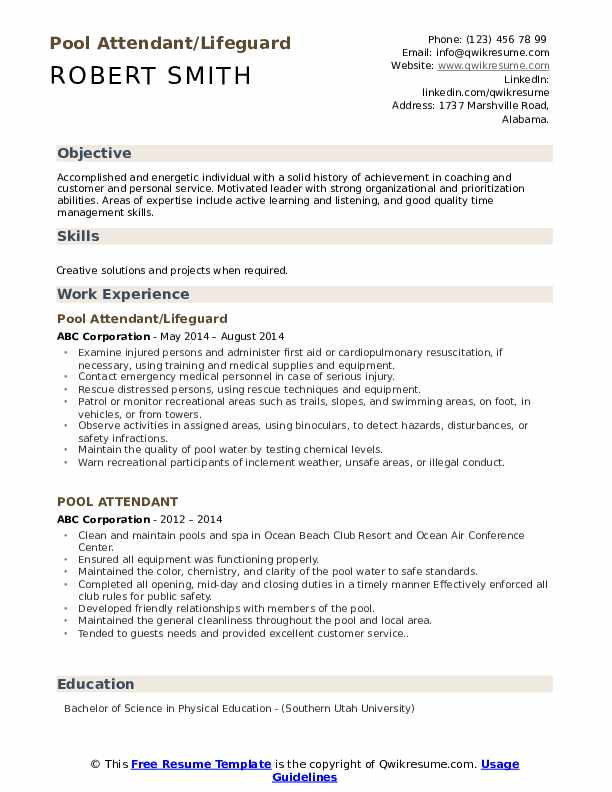 Pool Attendant/Lifeguard Resume Format