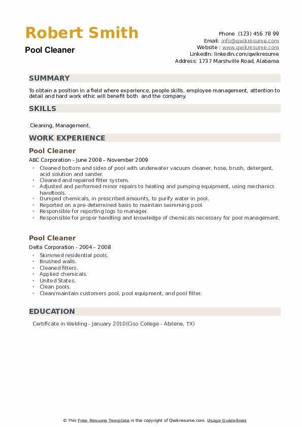 Pool Cleaner Resume example