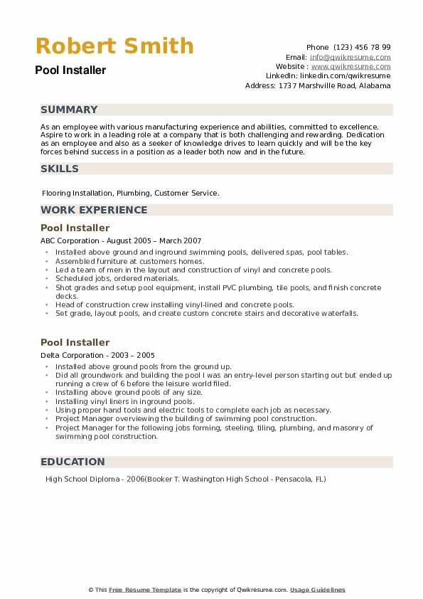 Pool Installer Resume example