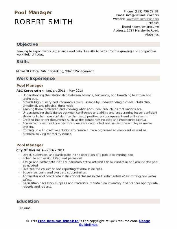 Pool Manager Resume Model
