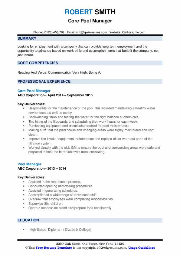 Core Pool Manager Resume Format