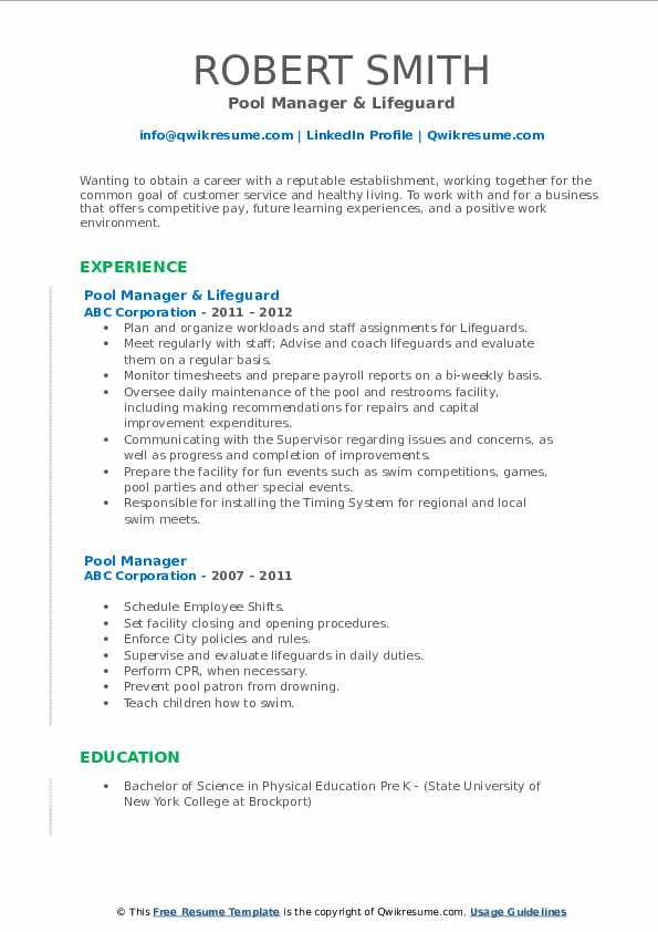 Pool Manager & Lifeguard Resume Format