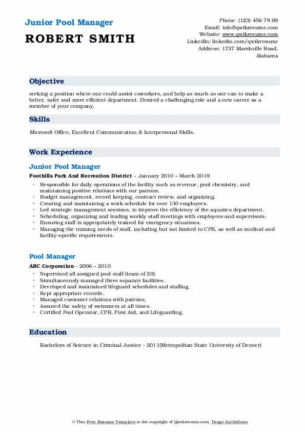 Junior Pool Manager Resume Sample
