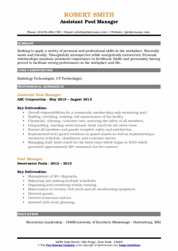 Assistant Pool Manager Resume Format