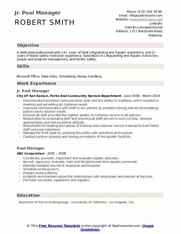 Jr. Pool Manager Resume Model