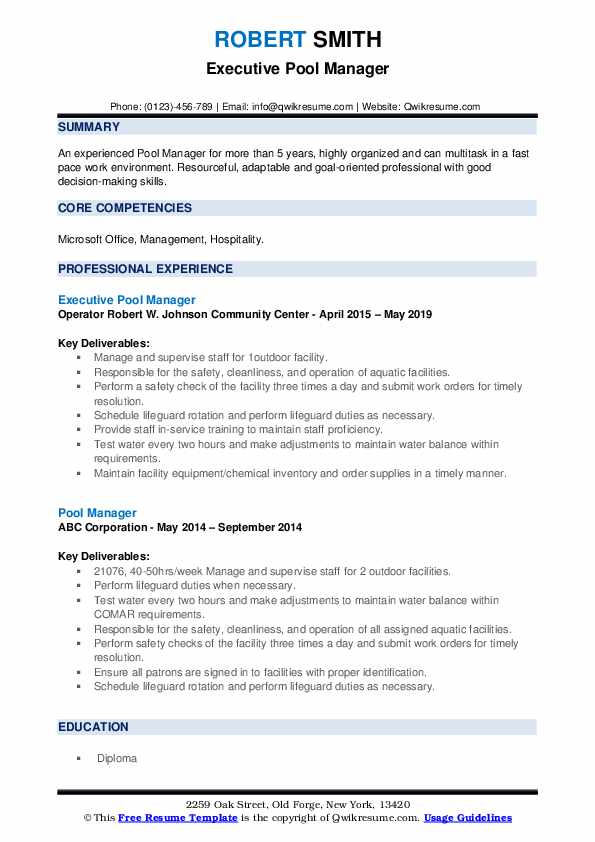 Executive Pool Manager Resume Sample