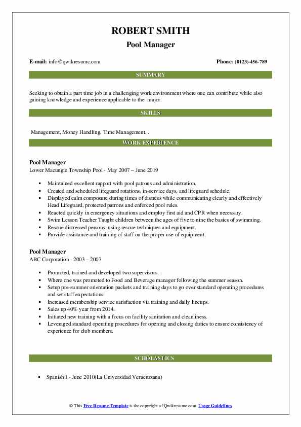 Pool Manager Resume example