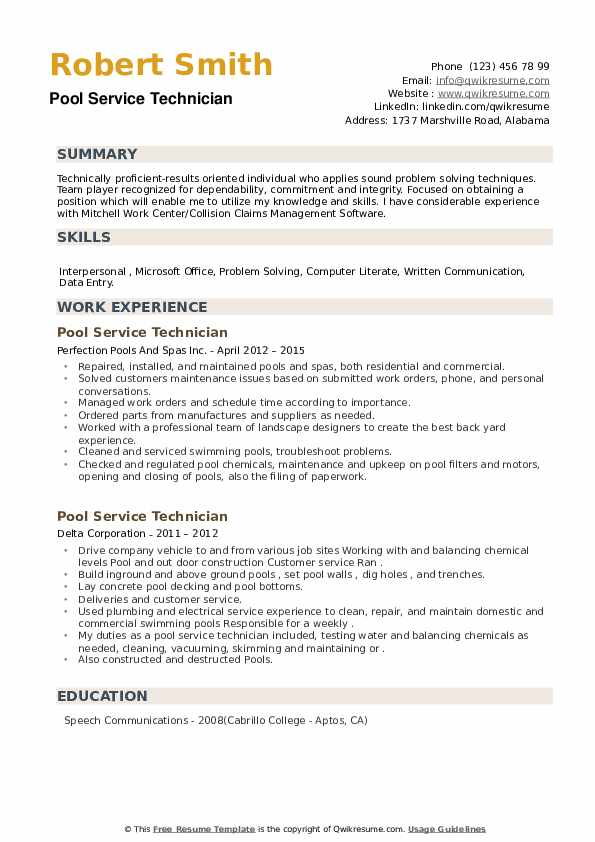 Pool Service Technician Resume example