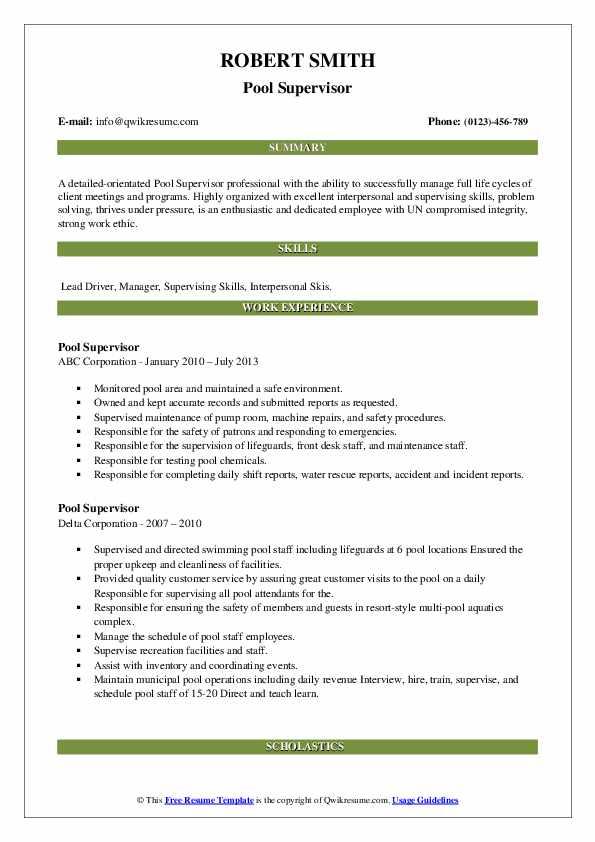 Pool Supervisor Resume example