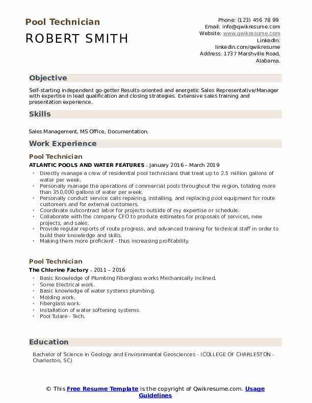 Pool Technician Resume Model