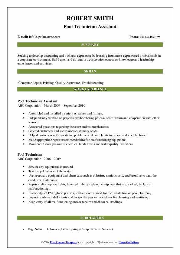 Pool Technician Assistant Resume Model