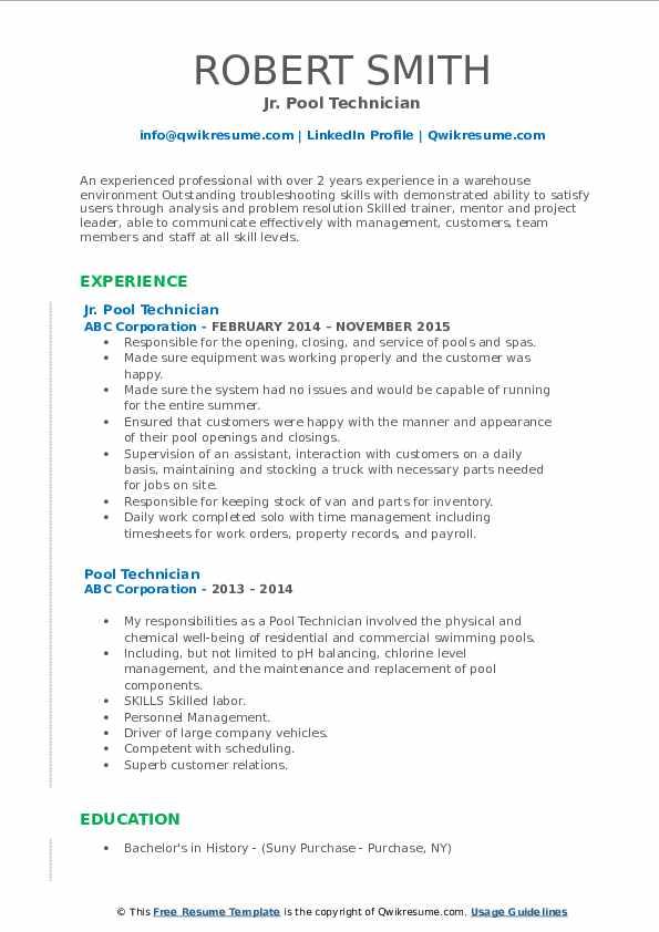 Jr. Pool Technician Resume Model
