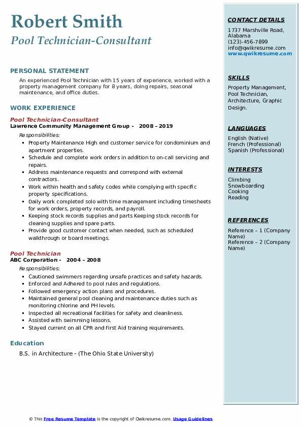 Pool Technician-Consultant Resume Example