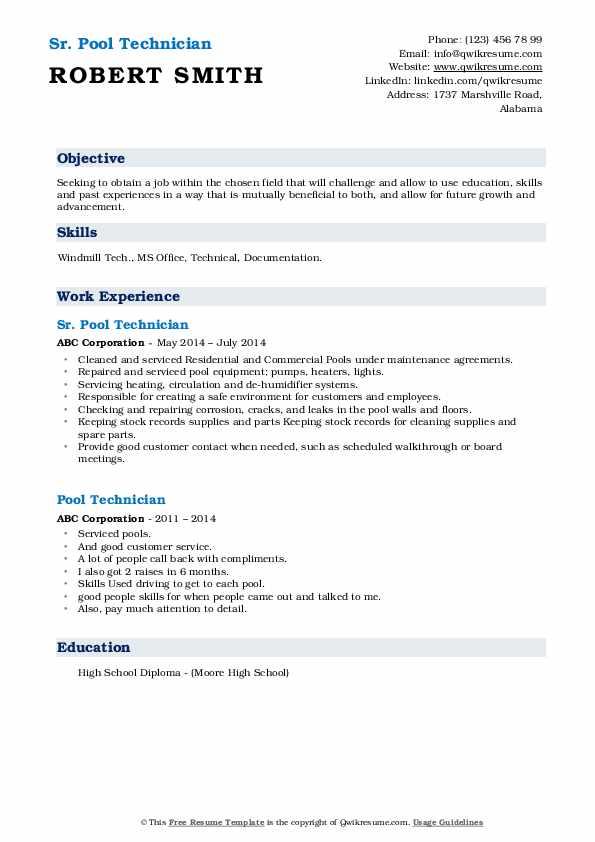 Sr. Pool Technician Resume Model