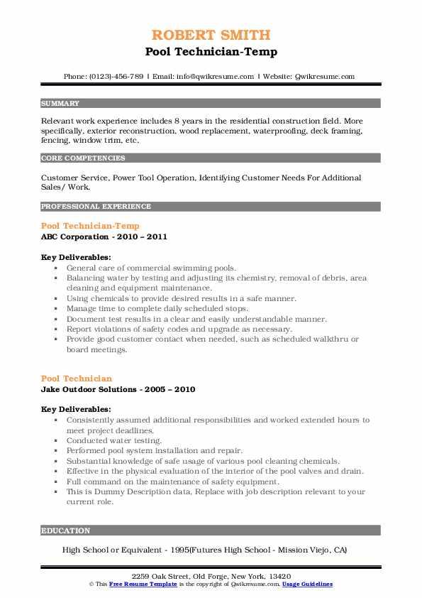 Pool Technician-Temp Resume Model