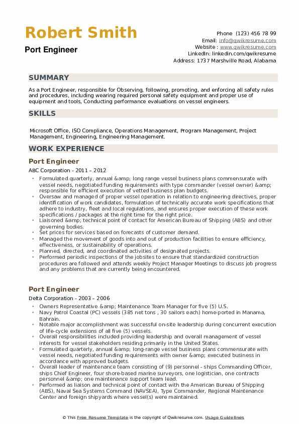 Port Engineer Resume example
