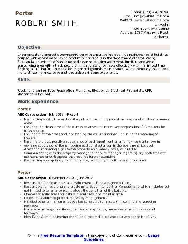 Porter Resume Template