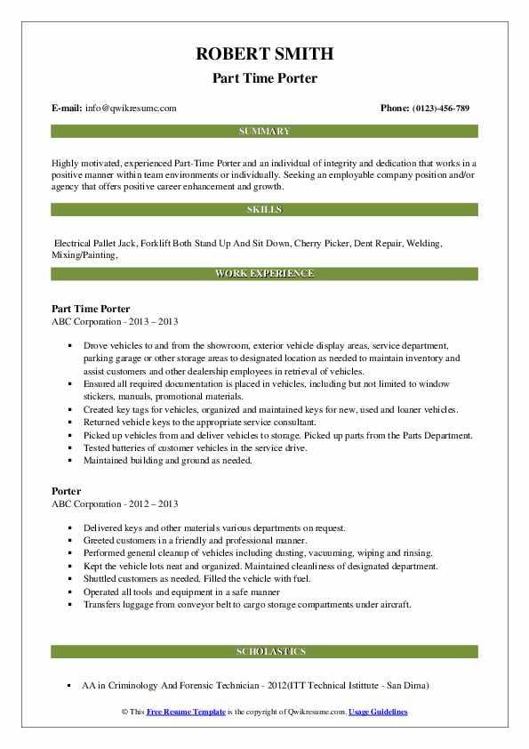 Part Time Porter Resume Sample