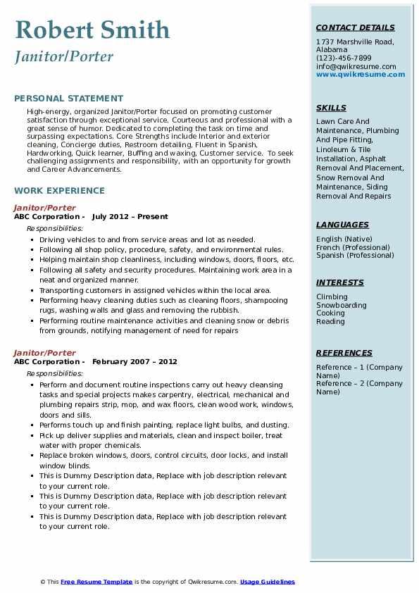 Janitor/Porter Resume Model