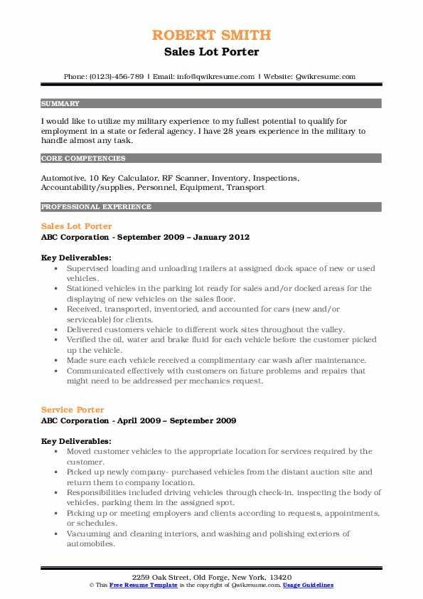 Sales Lot Porter Resume Sample