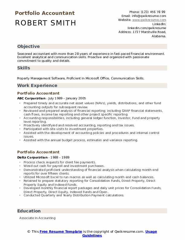 portfolio accountant resume samples