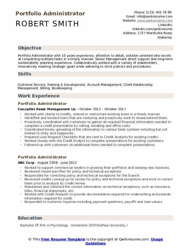 Portfolio Administrator Resume Template