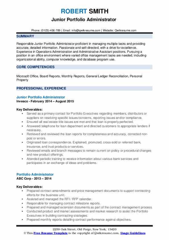 Junior Portfolio Administrator  Resume Format