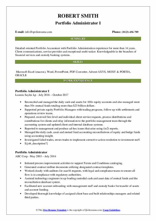 Portfolio Administrator I Resume Sample