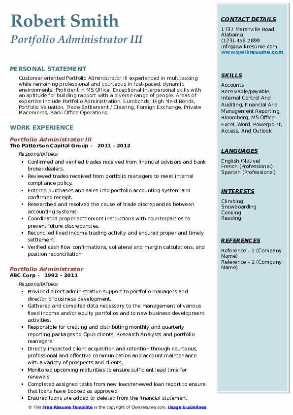 Portfolio Administrator III Resume Template