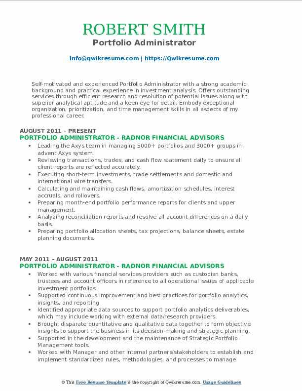 Portfolio Administrator Resume Format