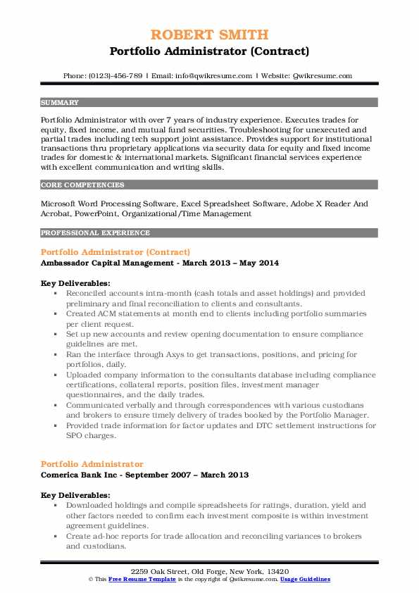 Portfolio Administrator (Contract) Resume Sample