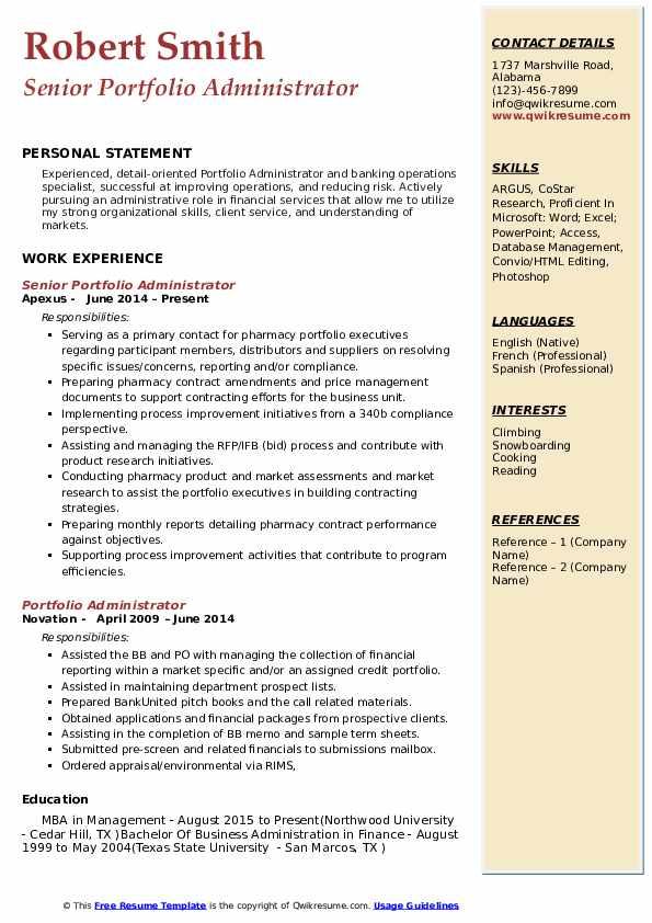Portfolio Administrator Resume Samples | QwikResume