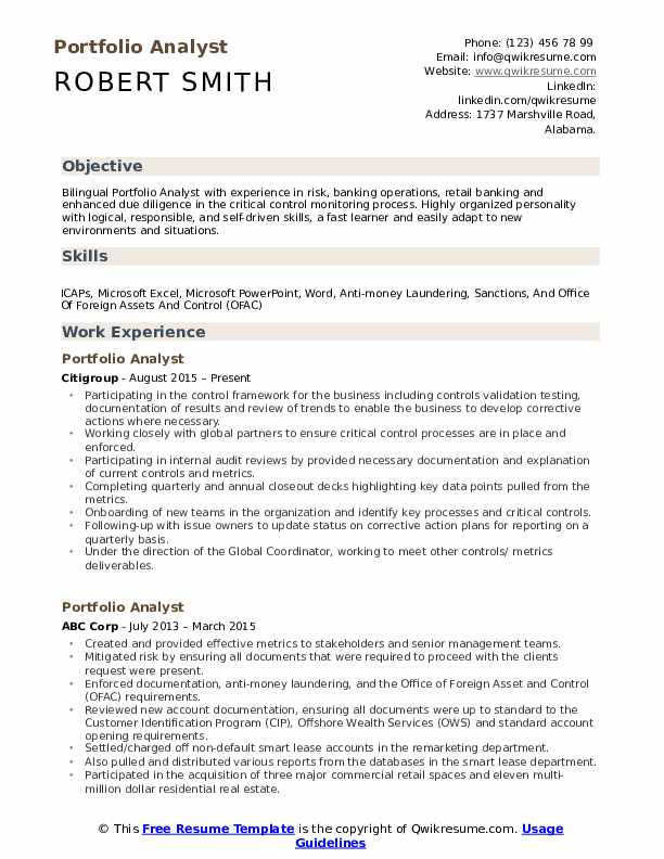 portfolio analyst resume samples