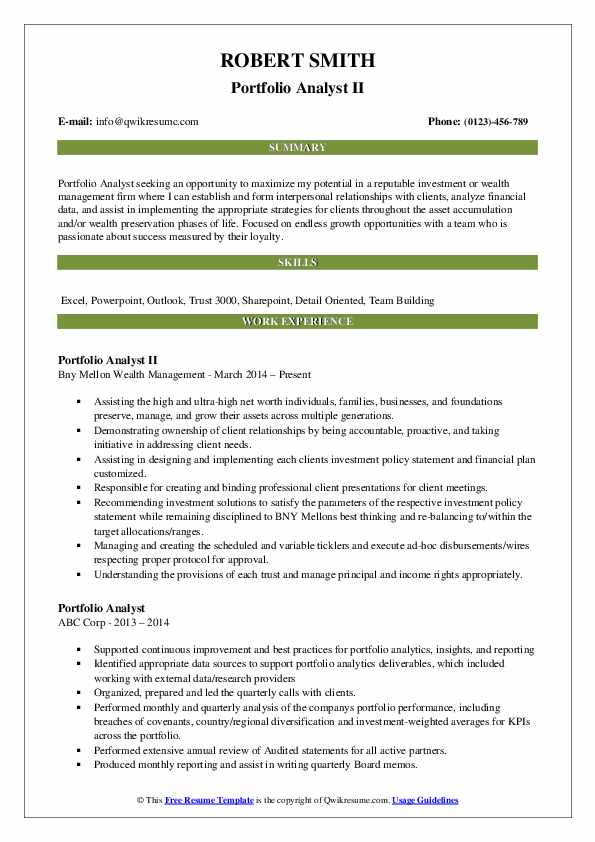 Portfolio Analyst II Resume Model