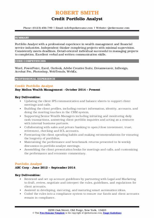 Credit Portfolio Analyst Resume Template