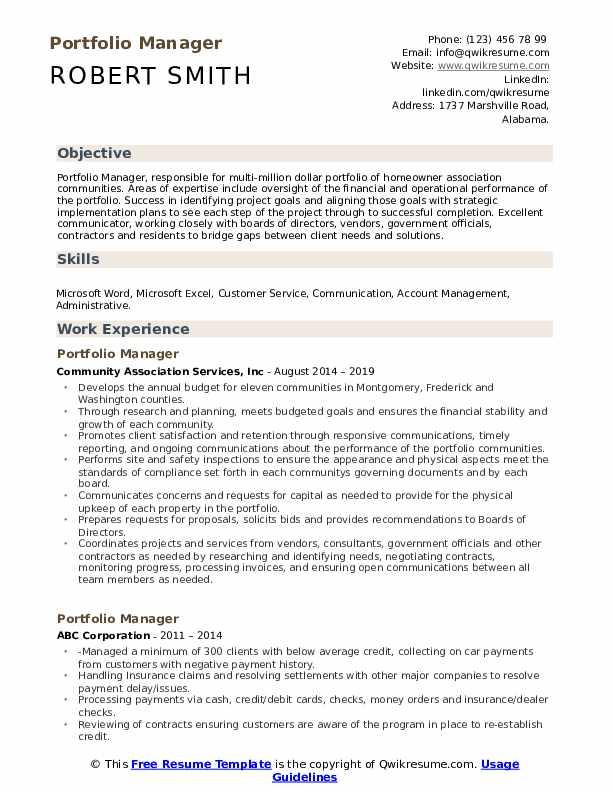 Portfolio Manager Resume Samples Qwikresume