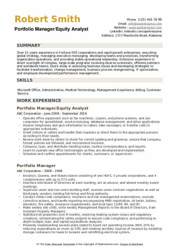portfolio manager resume samples