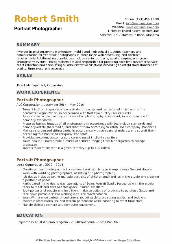 Portrait Photographer Resume example
