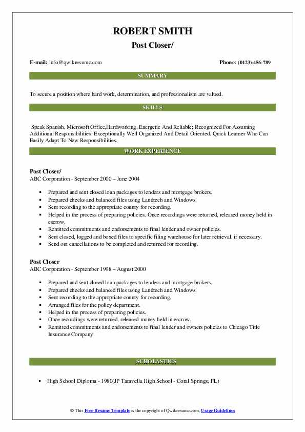 Post Closer Resume example