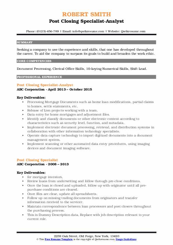 post closing specialist resume samples