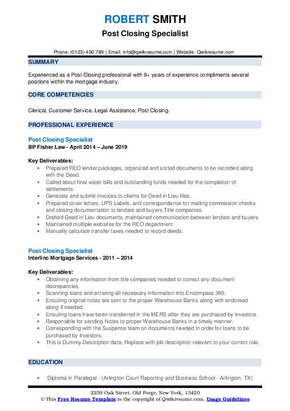 Post Closing Specialist Resume example