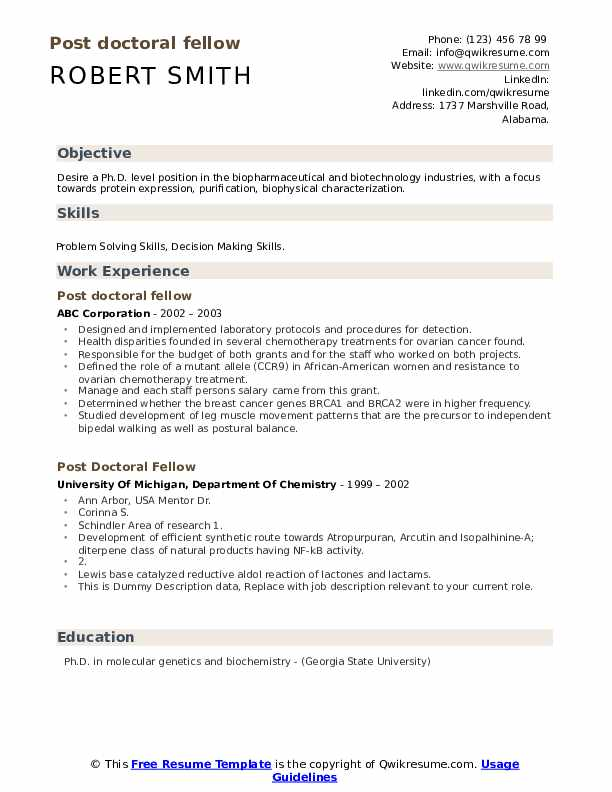 Post Doctoral Fellow Resume example