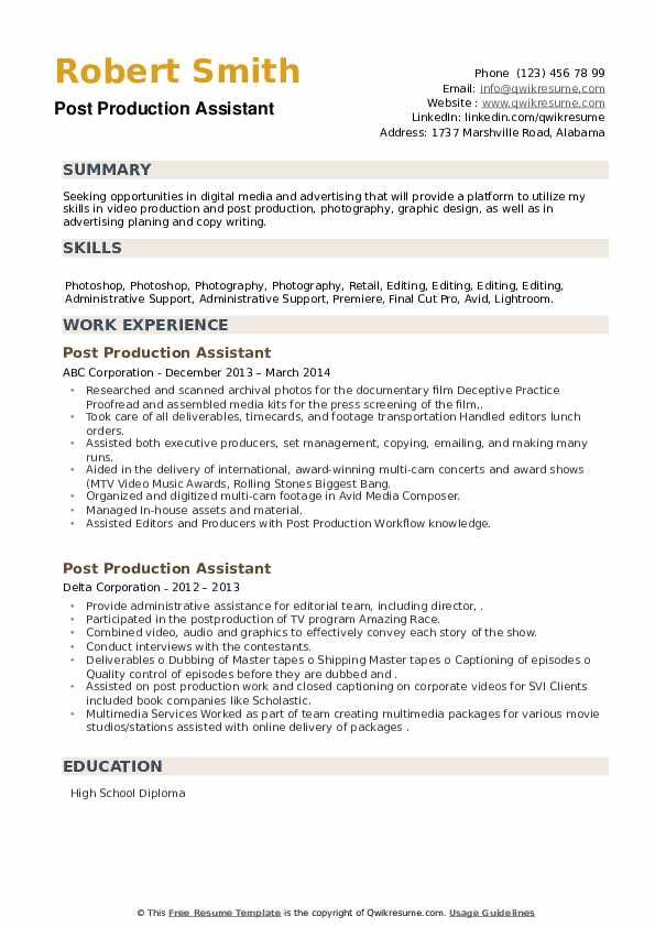 Post Production Assistant Resume example