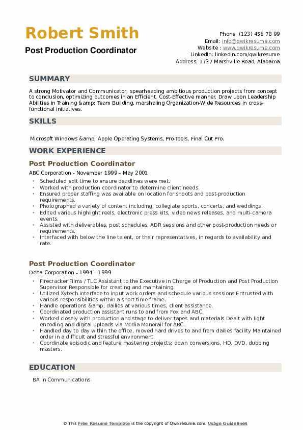 Post Production Coordinator Resume example