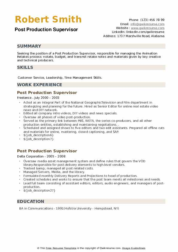Post Production Supervisor Resume example