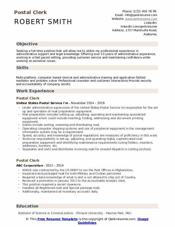 Resume for postal position create a free job resume